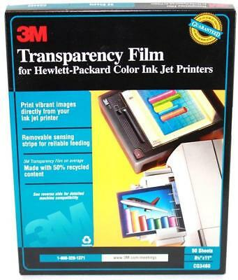 """3M Transparency Film for HP Color Ink Jet Printers 8 1/2""""X11""""  Open Box 1/2 Full"""