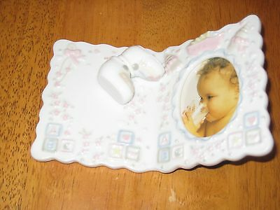 "Porcelain Baby Photo Frame ""It's A Girl"" Nursery Decor picture shoes pink"