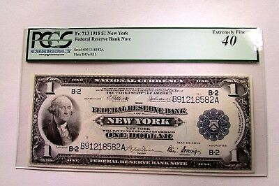One 1918 Large Size Federal Reserve One Dollar Note Extremely Fine 40 Pcgs
