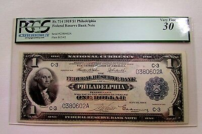 One 1918 Large Size One Dollar Federal Reserve Note In Pcgs  Very Fine 30 Holder