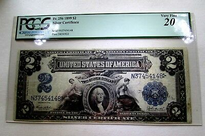One 1899 Large Size Two Dollar Silver Certificate In Pcgs Very Fine 20 Holder