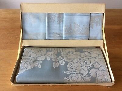 Vintage Blue Damask Tablecloth & 4 Matching Napkins Cotton / Rayon New In Box