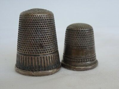 Antique Sterling Silver Thimble Lot of 2 Thimbles Detailed Collectable Designs