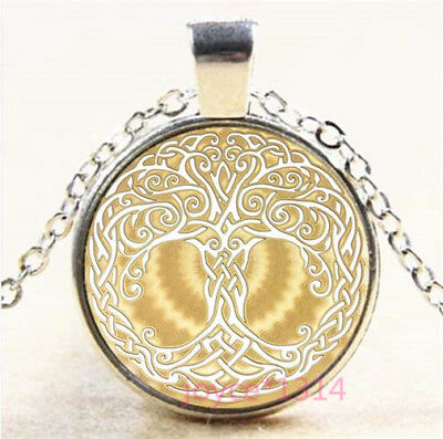 Celtic Tree of Life Silver/Bronze/Black/Gold Glass Chain Pendant Necklace #7621