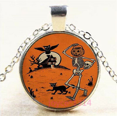 Halloween witch Cabochon Silver//Bronze//Black//Gold Chain Pendant Necklace #7504