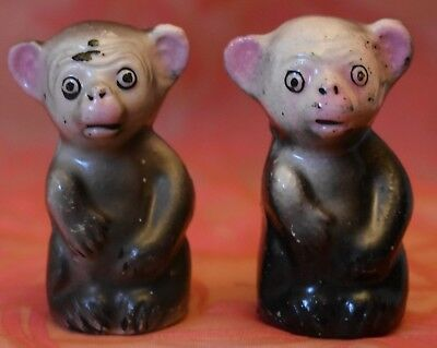 MONKEY Salt and Pepper shaker set over 2 inches tall pink ears & nose