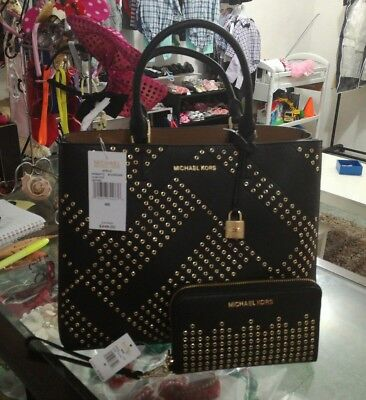 1f5befd3a0ed Authentic 2P Cs Michael Kors Adele Black Large Leather Satchel With Wallet  Set