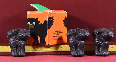 Vintage Avon Pumpkin Pals Scented Soaps 3 Black Cats Boxed Unused Dated 1989