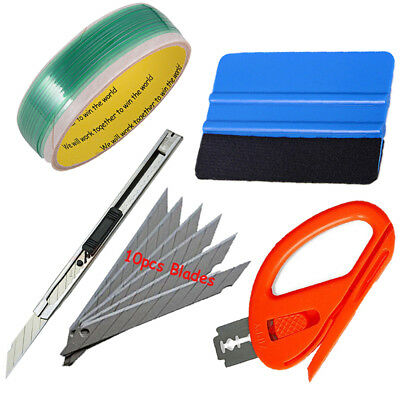 Knifeless Finish Line Tape  Squeegee Knife 10 Blades Vinyl Car Wrapping Tools US