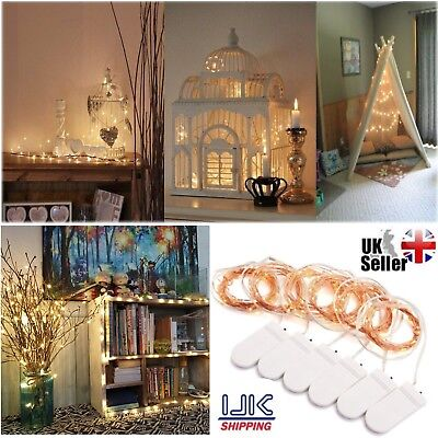 6 Pack Set 2M 20 LED Battery Micro Rice Wire Copper Fairy String Lights Party UK
