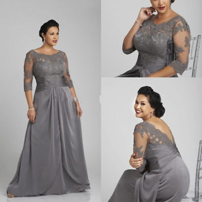 6844ee62cf Plus Size Mother of the Bride Dresses Formal Evening Gown Prom 3 4 Sleeve  Custom