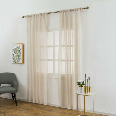 2-Piece Sheer Voile Window Treatment Curtain Long Solid Colors Wedding Decor W