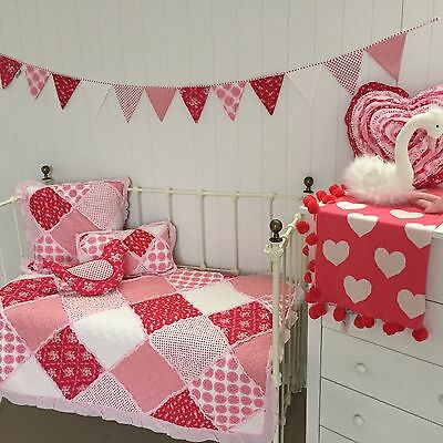 Shabby Chic Girls Baby Scarlet Cot Quilt Floral Patchwork Nursery Crib Blanket