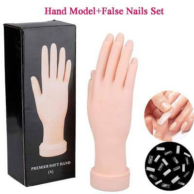 Practice False Hand Model + 500 Half Nails For Manicure Nail Art Training Tool