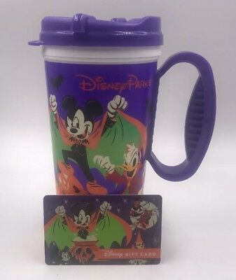 NEW Disney Parks 2018 Halloween Travel Coffee Cup Mug + Halloween Gift Card