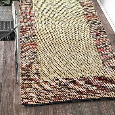 PRIYANKA RED HAND WOVEN NATURAL JUTE & COTTON FLOOR RUG RUNNER 80x300cm **NEW**