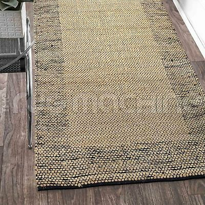 PRIYANKA BLACK HAND WOVEN NATURAL JUTE & COTTON FLOOR RUG RUNNER 80x400cm **NEW*