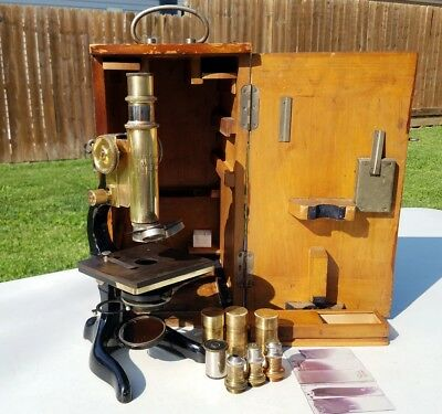 Antique Ernst Leitz Wetzlar Brass Microscope 1900's With Case No.217361 Lot Rare