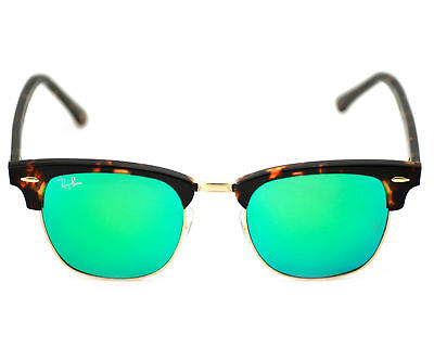 RAY-BAN RB3016 1145/19 Clubmaster Tortoise/Green Flash Sunglasses ...