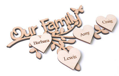 Wooden MDF Branch Our Family Branch with Personalised Hearts Engraved
