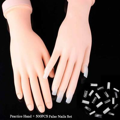 Practice Nail Art Training Hand Trainer False Acrylic Gel Tips Tool + 500 Nails