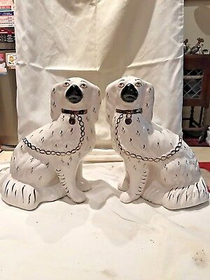 Genuine Antique Pair of Staffordshire Mantle Dogs Circa 1820 26cm high