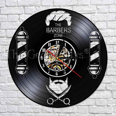 Barber Shop Wall Vinyl Record Clock Silent Movement Made Of Real Vinyl Record
