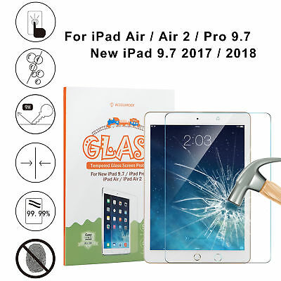 """Genuine Tempered Glass Screen Protector for New iPad 5 6th Gen 9.7"""" (2017/2018)"""