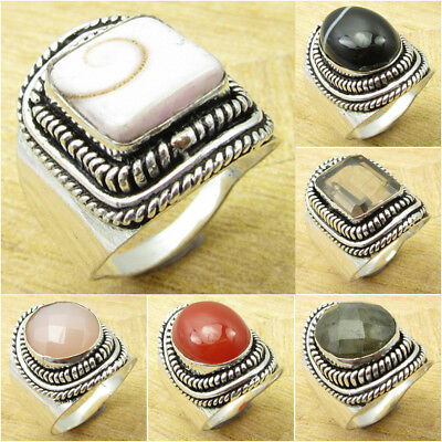MODERN HANDWORK ART Ring ! 925 Silver Plated INDIAN SHIVA EYE & Other Gemstones