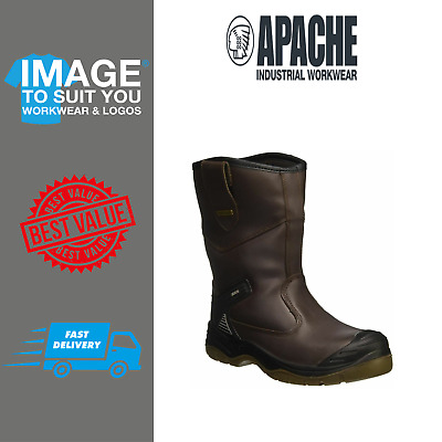 Apache AP305 Leather Brown Rigger Steel Toe Cap Boot Waterproof Fur Lined 6-12