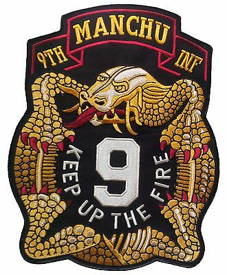 """HUGE Wax backed 9th Infantry Regiment Patch - 11 1/4"""" X 10"""" Manchu - KUTF"""