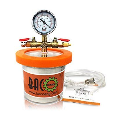 BACOENG Small Mini 1.2 L Vacuum Chamber Stainless Steel Degassing Urethanes Lid