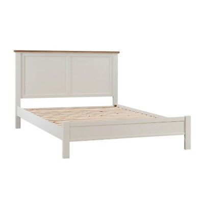 Off White Country Antique Oak King Size 5Ft Bed Frame (H19332)
