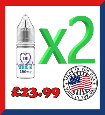 2 X VERY STRONG CBD 15% OIL Natural 10ml bottle 1500 mg