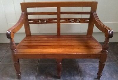 Beautifulcarved Vintage Cherry Wood Christmas Teddy Bear Childrens Bench Seat