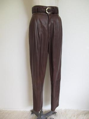 Vintage Kelli Kouri Leather High Waisted Pleated Pants 8  29w Brown Ostrich Belt