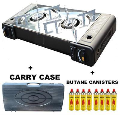 Camping Twin Cooker Stove Burner Portable BBQ Outdoor Carry Case Butane Sale