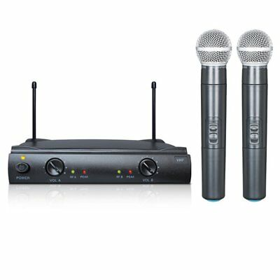 Pro VHF Wireless 2 Channel Dual Handheld Microphone Mic System Kits Party KTV AS