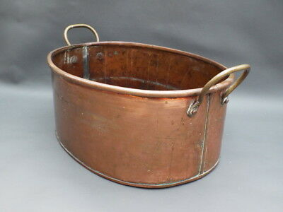 """Vintage oval copper planter with 2 brass handles - approx. 12 1/2"""" x 10"""" x 5"""""""