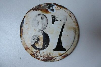 "Antique French Enamel House Number "" 37 """