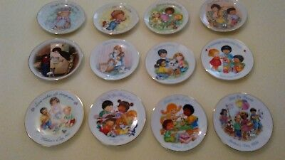 """12 - Avon Mothers Day Collector Plates - 22k Gold Trim  - 5"""" Plates -1981 - 1994"""