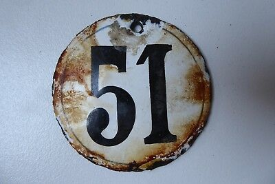 "Antique French Enamel House Number "" 51 """