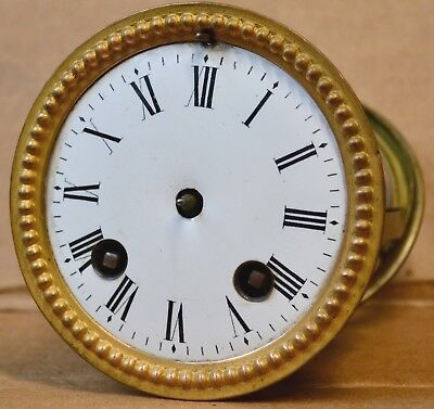Antique 8 Day Time & Bell Strike French Clock Movement Dial & Back Brass Ring