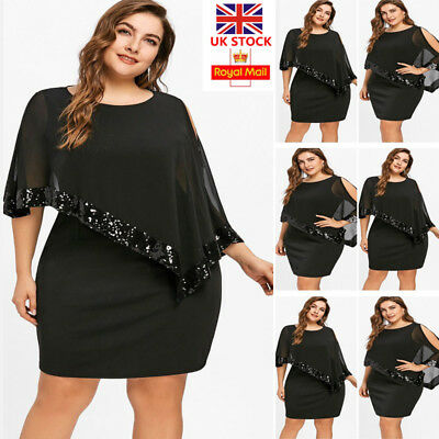 Plus Size UK Women Sequin Mini Dress Ladies Casual Evening Cocktail Party Dress