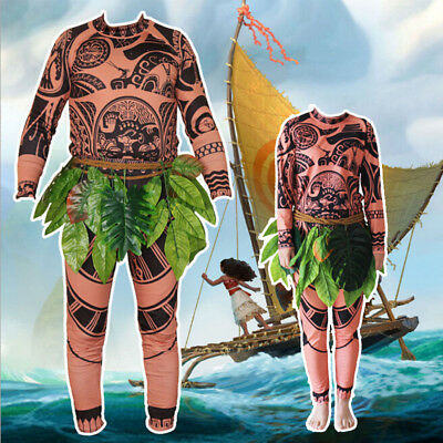 Moana Maui Mens Costume T Shirt Pants Tattoo Halloween Adults Cosplay Outfits