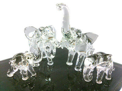 Elephant Family Crystal Figurine Hand Blown Clear Glass Art Animal Gift Collect