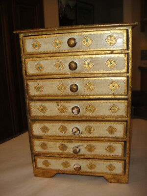 "ANTIQUE VINTAGE ITALIAN FLORENTINE 7 DRAWER JEWEL BOX 10"" x 7"" x 4"""