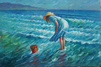 LMOP129 100% hand-painted girl in seaside seascape OIL PAINTING CANVAS decor ART