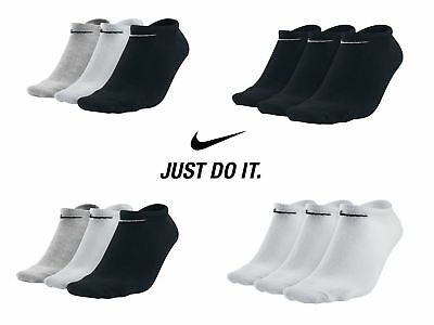 3 Pairs x Nike Performance Cotton Rich NOSHOW Ankle Liners Gym Socks Size 2-14