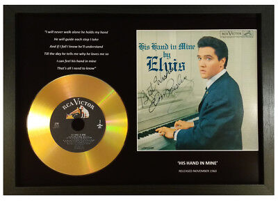 Elvis Presley 'his Hand In Mine' Signed Gold Disc Collectable Gift Memorabilia